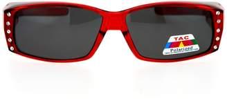 SA106 Womens Rhinestone Rectangular Polarized Fit Over Glasses Sunglasses