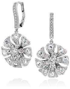 Aster Maria Canale Flower Drop Earrings with Diamonds