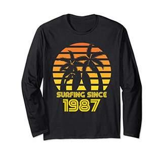 Retro Birthday Surfing Since 1987 Long Sleeve Shirt