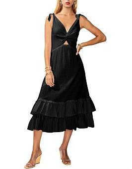 SUBOO The Crossing Twist Front Maxi Dress