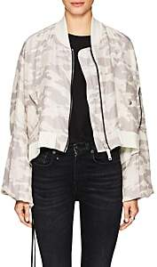 Taverniti So Ben Unravel Project BEN UNRAVEL PROJECT WOMEN'S CAMOUFLAGE SILK CROP BOMBER JACKET