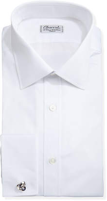 Charvet Solid Poplin French-Cuff Shirt, White