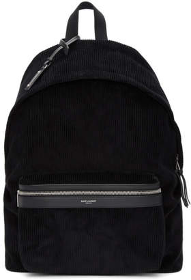 Saint Laurent Black Corduroy City Backpack
