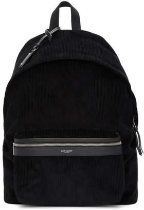 Saint Laurent Black Corduroy City Backpack