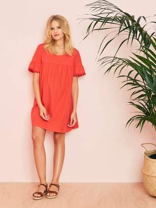 Loose-fitting Maternity Dress with Cotton and Lace - red medium solid