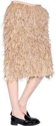 N°21 Ostrich & Emu Feathers On Silk Skirt