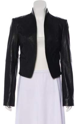 Halston Open Front Leather Jacket