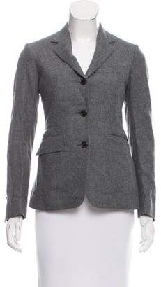 Black Fleece Wool Notch-Lapel Blazer