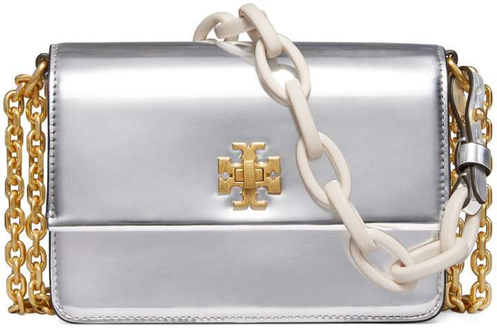 Tory Burch Kira Metallic Double-Strap Mini Bag - SILVER - STYLE
