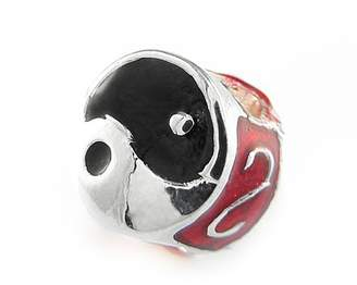 Olympia Ying/Yang in Black/Red Enamel Charm By Compatible & Fits Major Brand Name Bracelets - Silver Plated