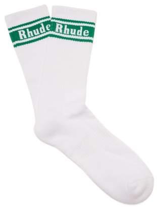 Rhude Logo Jacquard Cotton Blend Socks - Mens - White