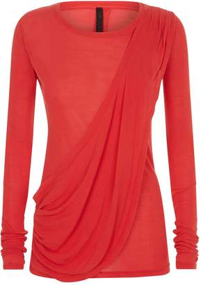 Unravel Silk Draped Long Sleeve T-Shirt
