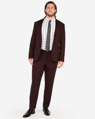 Express Slim Burgundy Oxford Stretch Wool-Blend Suit Pant