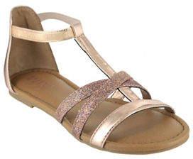 Mia Hazel Metallic T-Strap Sandals