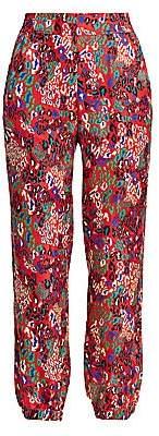 Tanya Taylor Women's Jacob Mixed Animal-Print Silk Pants