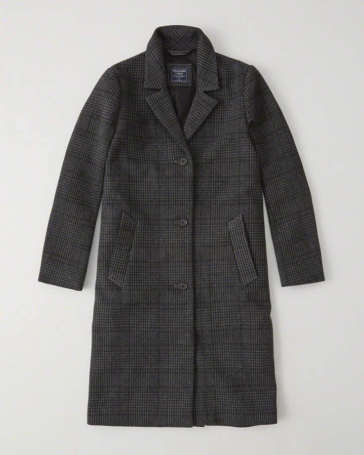 Long Wool-Blend Overcoat