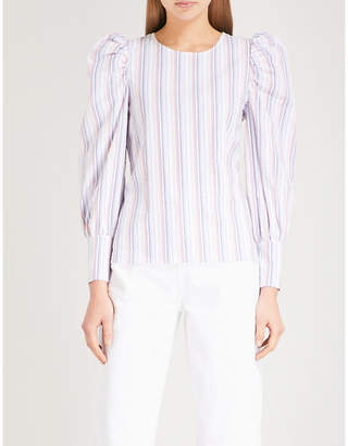 Claudie Pierlot Striped puff-sleeve cotton top