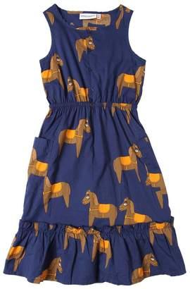 Mini Rodini Horses Print Cotton Poplin Long Dress
