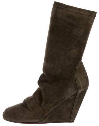 Rick Owens Suede Wedge Boots