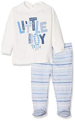 Benetton Baby Girl Pyjama (Sweater+Trousers) Set, White/Light Blue, (Manufacturer Size: 62) Pack of 2