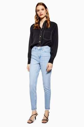 Topshop Womens Bleach Premium Mom Jeans