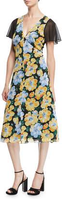 Club Monaco Coran Floral Flutter-Sleeve Cutout Midi Dress