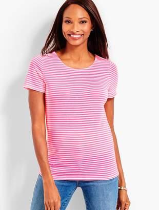 Talbots Pima Cotton Tie-Back Tee - Neon Stripe