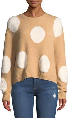 Alice + Olivia Gleeson Polka-Dot Boxy Long-Sleeve Pullover Sweater