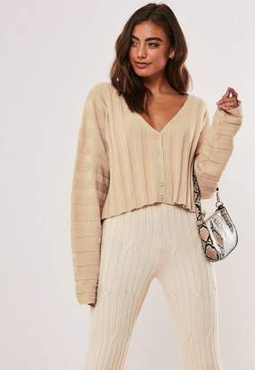 Missguided Stone Extreme Rib Cropped Cardigan