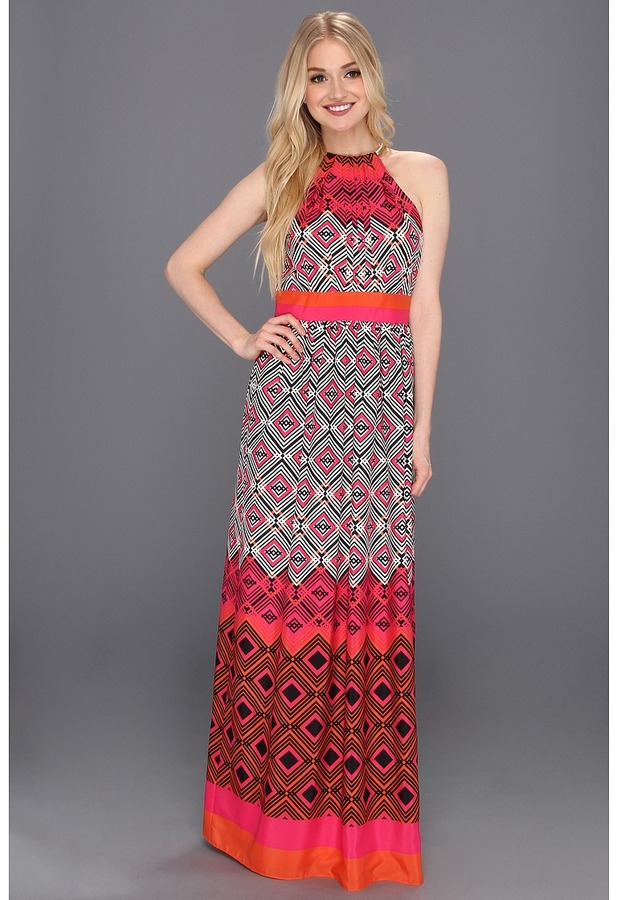 Eliza J Halter Maxi With Inset Waist And Necklace Trim (Print) - Apparel