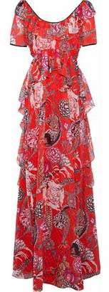 Temperley London Ruffled Printed Fil Coupé Gown