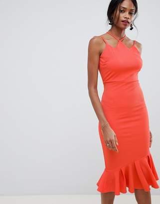 Asos Design DESIGN Textured Strappy Midi Bodycon Dress