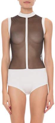 Balmain High-Neck Sleeveless Sheer Bodysuit