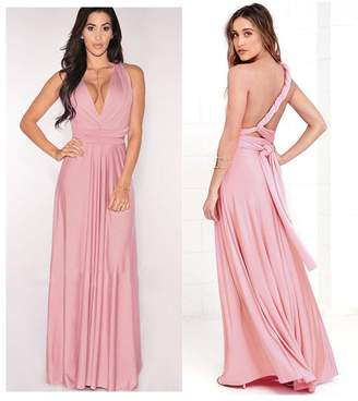 Manyis Women Evening Dress Convertible Multi Way Wrap Bridesmaid Formal Long Dresses M
