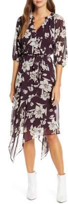 Maison Tara Handkerchief Hem Floral Chiffon Dress