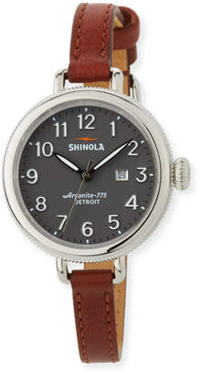 Shinola 34mm The Birdy 3-Hand Date Watch with Cognac Leather Strap