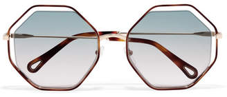 Chloé Poppy Octagon-frame Acetate And Gold-tone Sunglasses - Blue