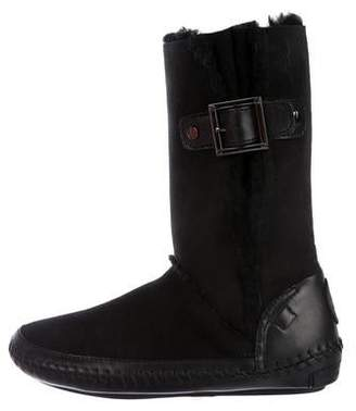 39c261e8b Tory Burch Suede Fur-Trimmed Boots