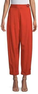 Robert Rodriguez Women's High-Waist Cuffed Trousers - Persimmon - Size 12