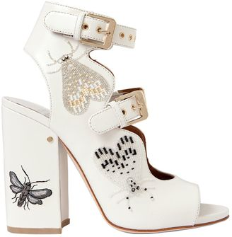 90mm Nelen Eden Beaded Leather Sandals $1,140 thestylecure.com