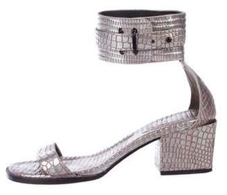 3.1 Phillip Lim Leather Ankle Strap Sandals Silver Leather Ankle Strap Sandals