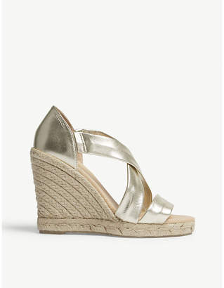 Office Holiday leather espadrille wedge sandals