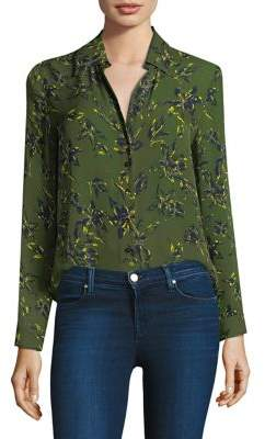 L'Agence Nina Leaf-Print Silk Blouse