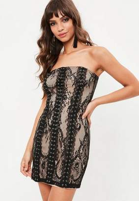 Missguided Black lace bandeau eyelet bodycon dress