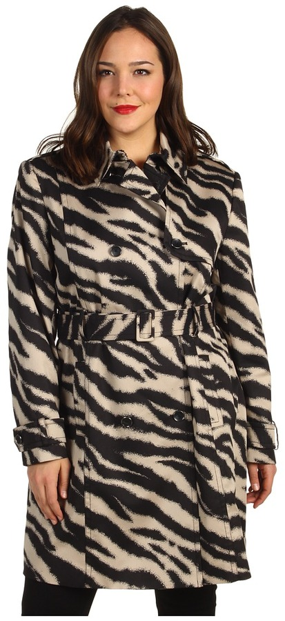Klein Plus Anne Plus Size Zebra Print Trench Coat (Champagne Multi) - Apparel