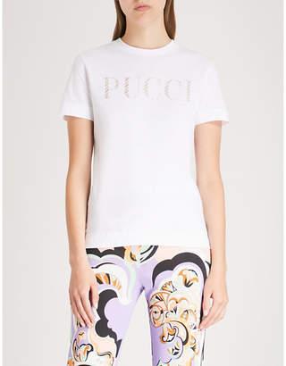 Emilio Pucci Metallic logo-print cotton-jersey T-shirt