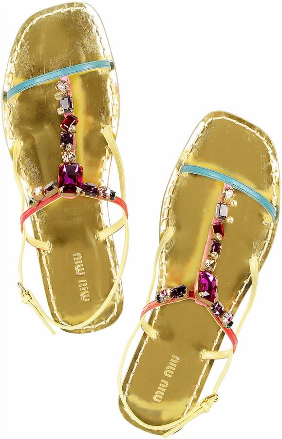 Miu Miu Jeweled flat sandals