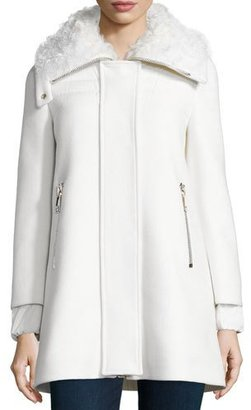 Moncler Calipso Wool-Blend Coat w/Fur Collar, Ivory $2,500 thestylecure.com