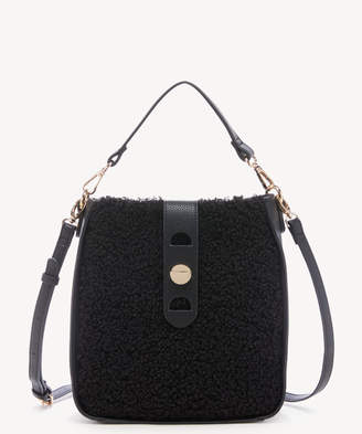 Sole Society Women's Delaney Crossbody Bag Faux Leather Sherpa Black From