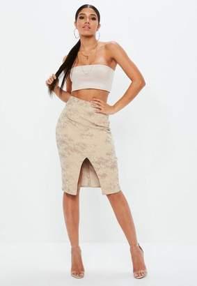 Missguided Nude Printed Snake Ponte Split Front Midi Skirt